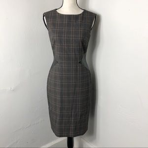Tahari Brown Plaid Leather Side Sheath Dress 2